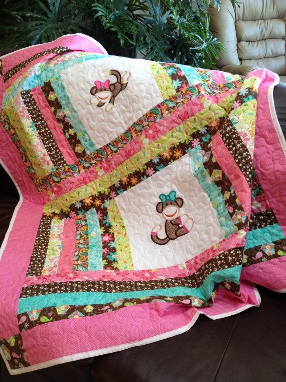 Owl Or Sock Monkey Baby Girl Quilt 50x58 Baby Girls