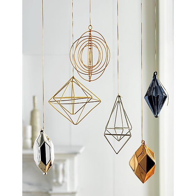 Shop facet drop copper ornament.   Modern glass bulbs are festive from every angle.  Set of 3 includes copper, silver and smoke.  A fun and fresh holiday palette.