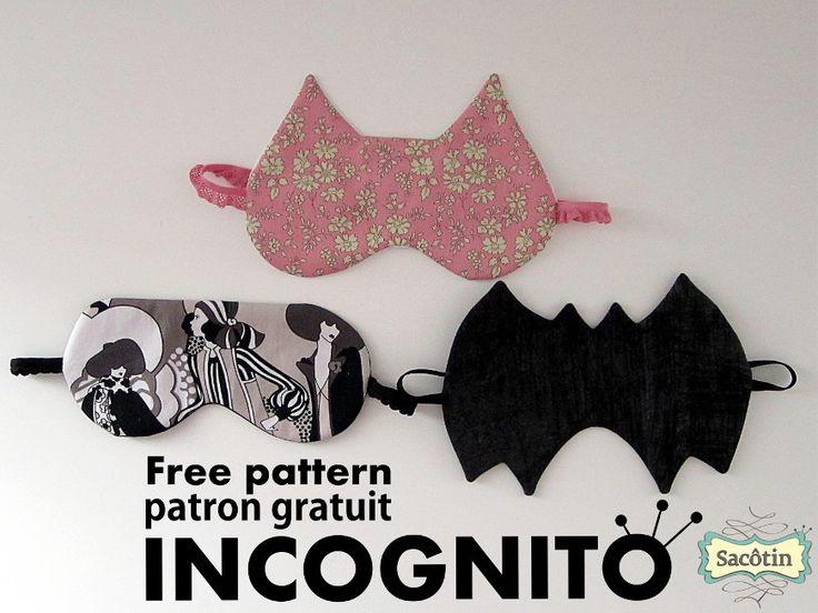 Incognito, patron gratuit de masque de nuit en 3 versions: Incognito version classique, Cat-Incognito masque forme chat et Bat-Incognito forme chauve-souris