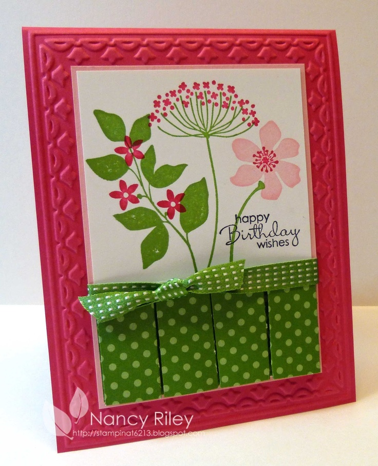 "Stamps:  Summer Silhouettes, Petite Pairs Paper: Gumball Green  DSP, Melon Mambo, Pretty In Pink, and Whisper White CS Ink:  Gumball Green, Melon Mambo, Pretty In Pink, and Basic Black Embellishments:  Gumball Green 3/8"" Stitched Satin Ribbon Tools:  Framed Tulips Folder, Big Shot, Simply Scored Scoring Tool"
