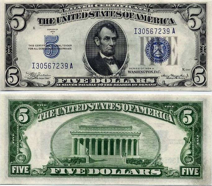 "Prior to 1964, the USA was ""on the silver standard."" The government controlled the price of silver, and silver certificates were bills that could be exchanged for a specific amount of the metal. Denominations used in the 20th century were one dollar, five dollars, and ten dollars. The government was allowed to print only as many bills as there was silver in the Treasury to redeem them, which helped to control the money supply. Silver certificates in fact were little more than a receipt or…"