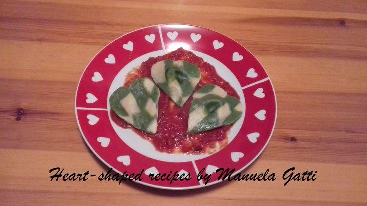 heart shaped checkerboard ravioli