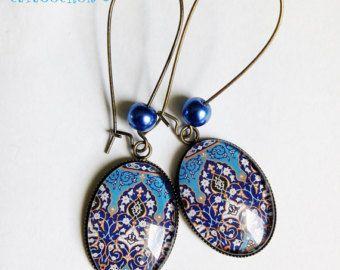 Orecchini * ricordi d'Oriente * blu marocchino orientale tessere di mosaico, vetro cabochon