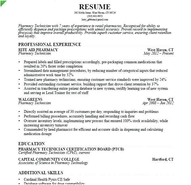 Hospital Pharmacy Technician Resume Resume Examples Resume Objective Resume