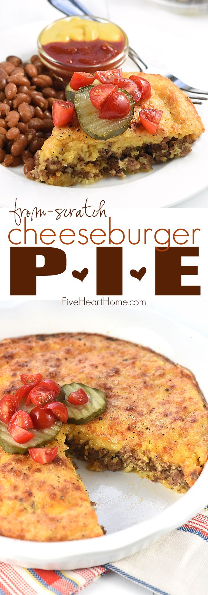 From-Scratch Cheeseburger Pie ~ this classic recipe gets a wholesome, real food twist with seasoned ground beef, grated cheddar cheese, and a topping made with whole wheat flour instead of Bisquick!   FiveHeartHome.com
