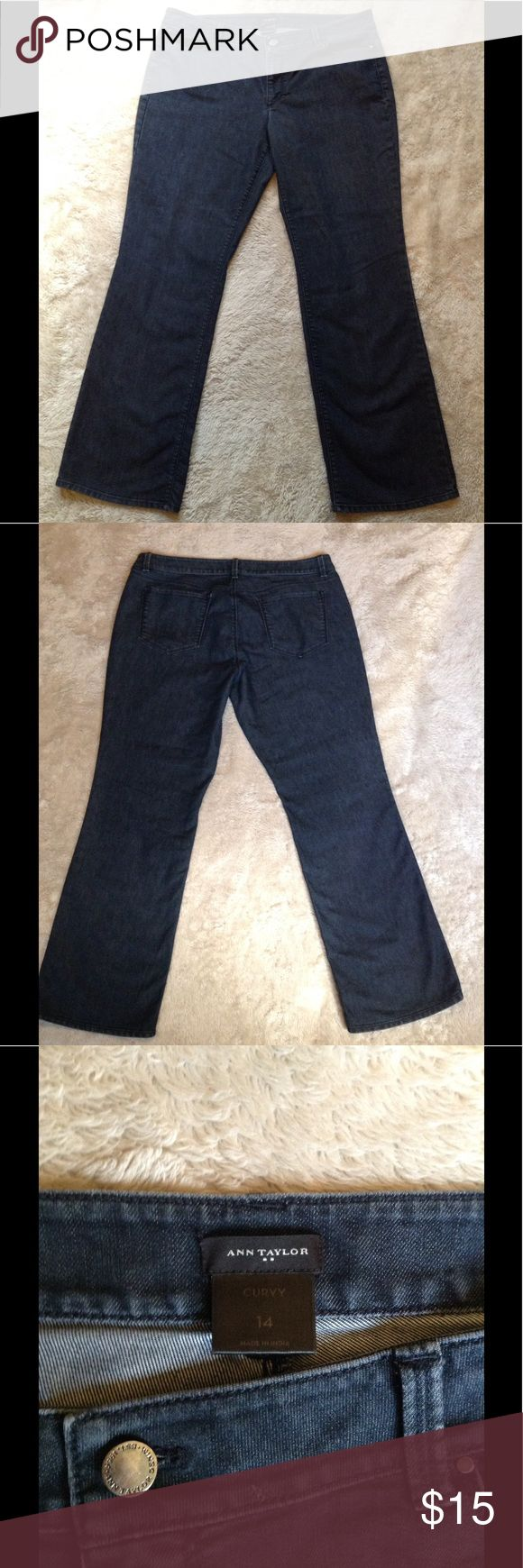 Ann Taylor Curvy jeans Dark wash jeans by Ann Taylor size 14 a little bit worn but still in great condition. Ann Taylor Jeans Boot Cut