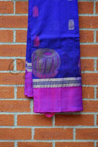 Indigo Blue Kuppadam Saree with Unique Tabla Motifs and Purple/Zari Border - Aliveni  - 1