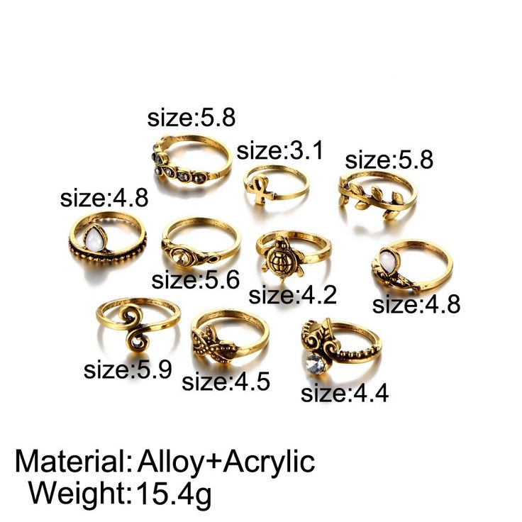 10Pcs Women Accessories Punk Vintage Knuckle Rings Tribal gold - Tomtop.com