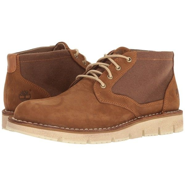 Timberland Westmore Leather Fabric Chukka (Medium Brown Nubuck/Canvas)... (495 BRL) ❤ liked on Polyvore featuring men's fashion, men's shoes, men's boots, mens brown shoes, mens rugged boots, mens shoes, mens brown leather boots and mens boots