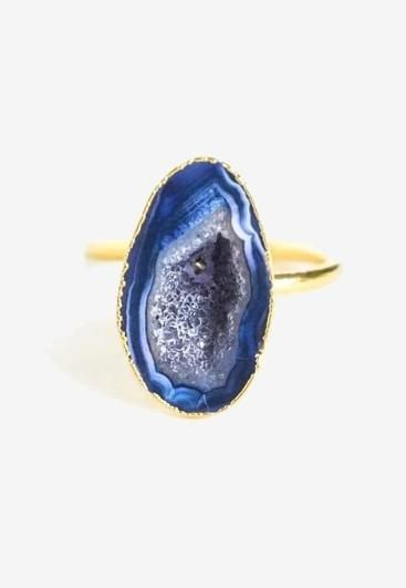 Cerulean Agate Ring Vol. 2 - a delicate ring with a raw cut royal blue agate. $60