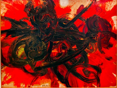 """Kazuo Shiraga's """"Work II"""" (1958), painted with his feet, from Gutai: Splendid Playground @ the Guggenheim.  Gutai is a postwar Japanese movement.  In a manifesto of Yoshihara, one of the 59 members emotes """"reveals the scream of matter itself."""""""