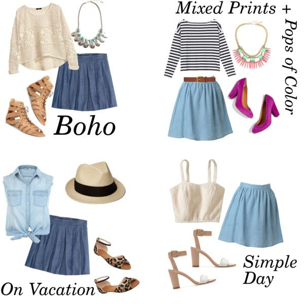 Chambray Skirt Outfits, created by everydayoutfits on Polyvore