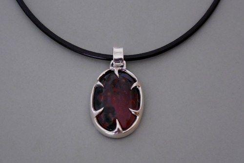 Bloodstone Necklace Heliotrope March Birthstone Jewelry By