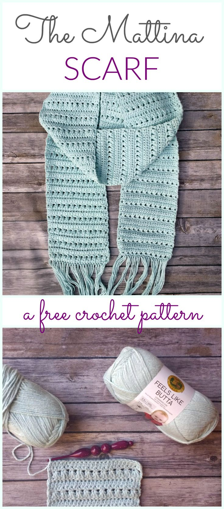 A free crochet pattern for the Mattina Scarf crocheted with Lion Brand's Feels Like Butta - Croyden Crochet
