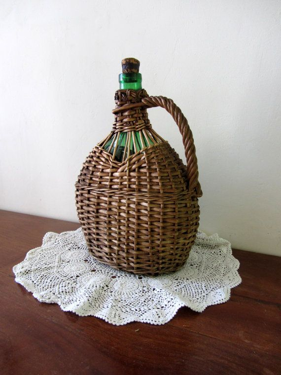 Large Antique French Wicker Covered Wine Bottle Home Decor