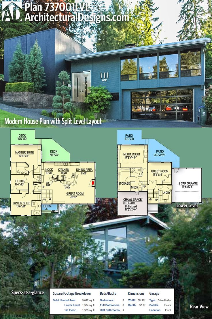 Architectural Designs Modern House Plan 737001LVL has