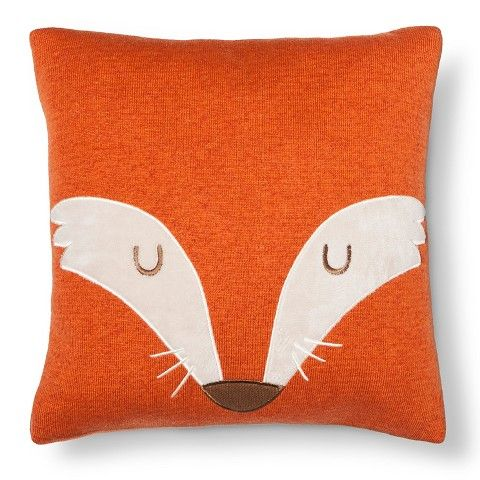 "Fox Square Throw Pillow 14""X14"" - Orange - Pillowfort™"