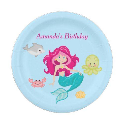 Birthday Beach Party Pool Party Paper Plates Mermaid Birthday