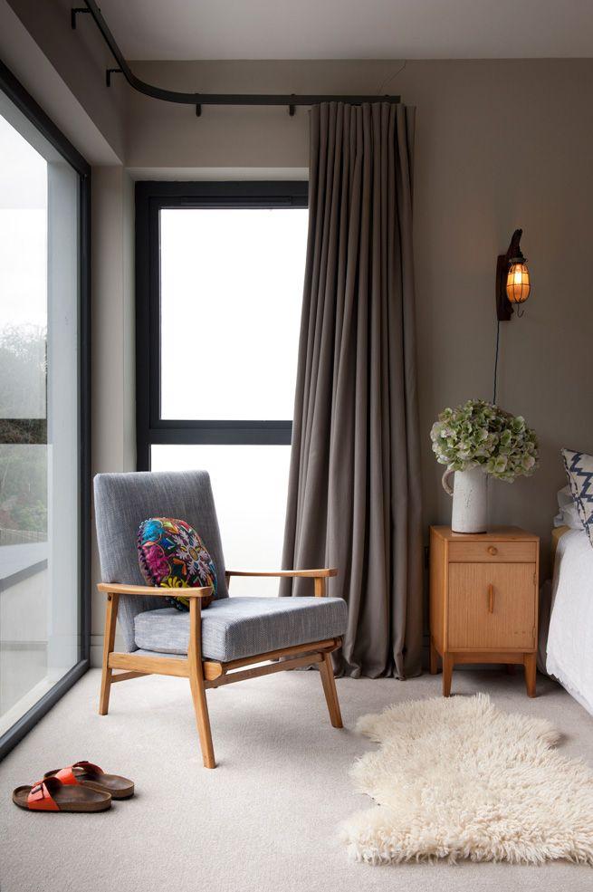 Beautiful Belfast bedroom.  Trentanove lighting, sheepskin rug.