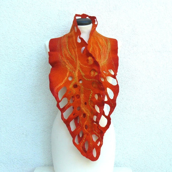 Felted Scarf merino wool silk Hand made Nuno felting shawl - Various shades of orange. $65.00, via Etsy.