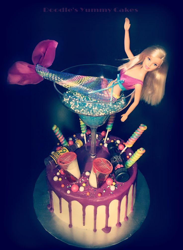 Drunk Barbie mermaid cake