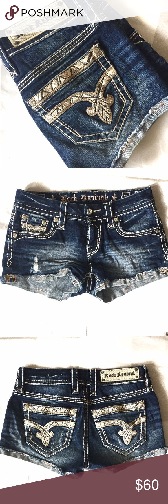 "Rock Revival Nancy Shorts NWOT * Low rise * 2.5"" frayed Stretch shorts * Rhinestone embellishment on pocket corner * 98% Cotton 2% elastin NWOT Rock Revival Shorts Jean Shorts"