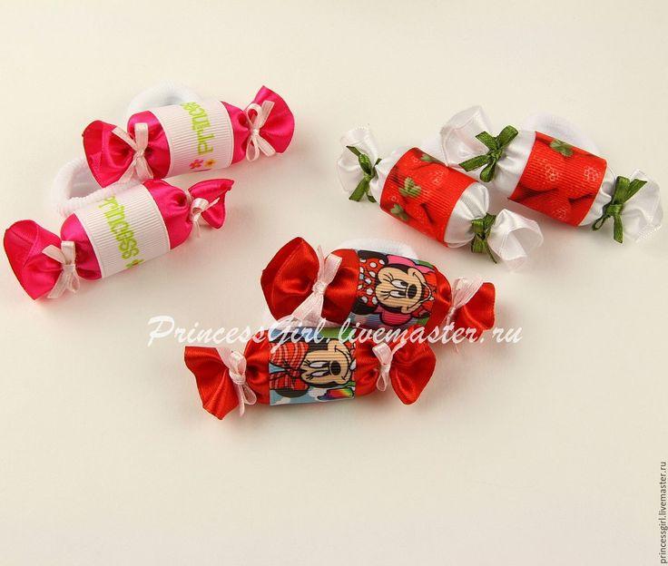 """Купить Резиночки для волос """"Конфетки"""" - Бантики из лент, бантики для девочек, резинка для волос, резинка для девочки"""
