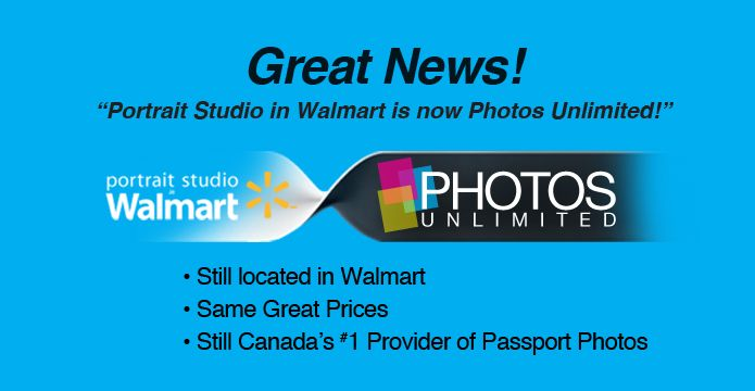 The Portrait Studio in Walmart is now Photos Unlimited studios in Walmart! We offer the same great service in the same great store, plus more photography services!