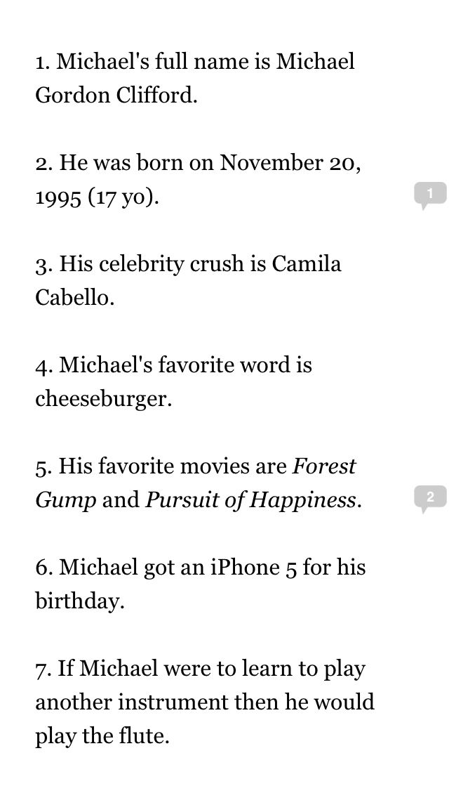 Michael Facts:  Got these from Wattpad Again don't know the author sorry