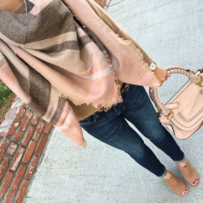 Chloe marcie small leather satchel, CREWNECK LIGHTWEIGHT CASHMERE SWEATER, Third Time's a Warm Plaid Scarf, Steve Madden Claara Block Heel Sandals, fall fashion, petite outfits, plaid blanket scarf - click the photo for outfit details!