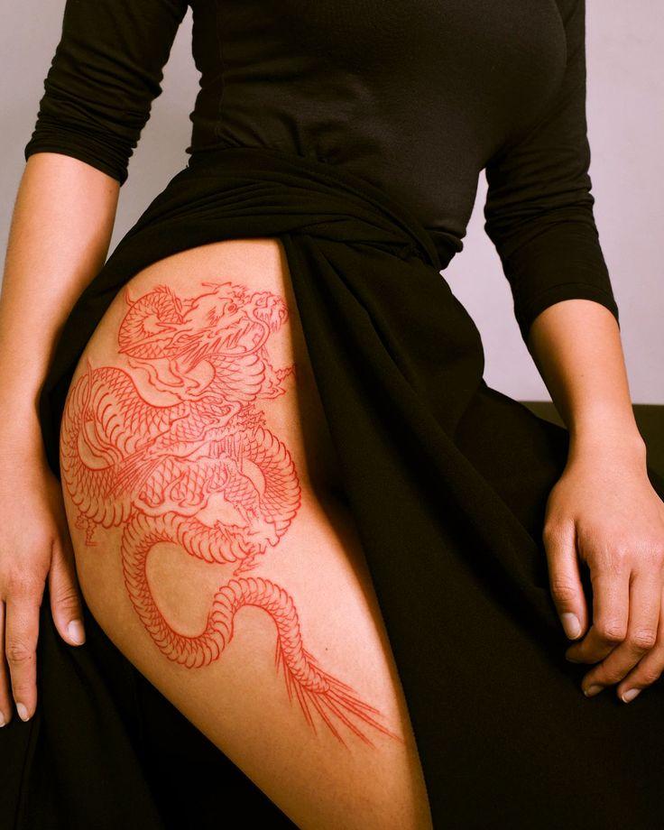 shiniga mi on Twitter in 2021 | Red dragon tattoo, Hip thigh tattoos, Leg tattoos women
