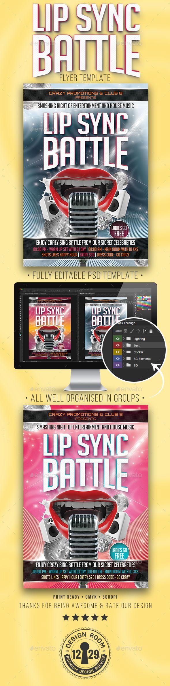 Lip Sync Battle Flyer Design Template - Events Flyers Template PSD. Download here: https://graphicriver.net/item/lip-sync-battle-flyer-template/17037438?s_rank=9&ref=yinkira