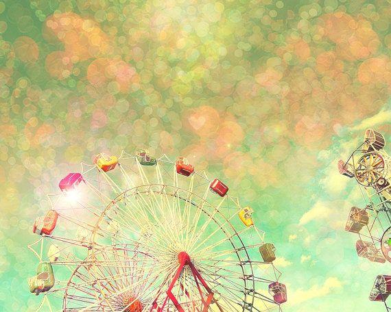 Art for nursery carnival photo children's wall art ferris wheel honeysuckle pink pastel hearts circus art Happiness 8x10