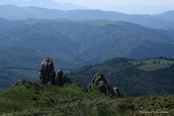The Ciucas Mountains and their spectacular and bizarre wind shaped limestone forms.