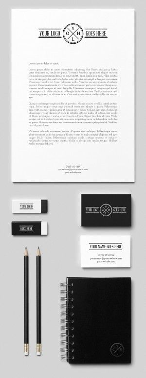 graphicburger corporate branding stationery erasers notebook pencils psd mockups