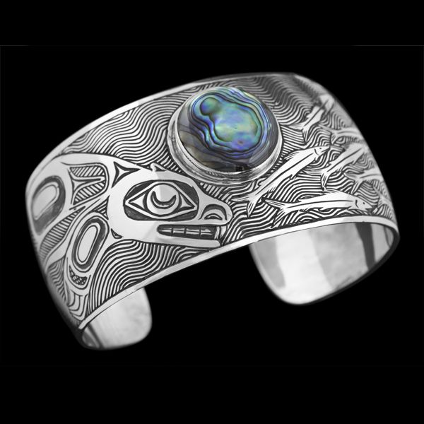 Coastal Peoples Fine Arts Gallery - Barry Wilson Medium: Sterling silver, abalone shell, engraved. Size: 1.25 x 6.25 inches.