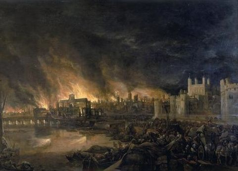 Detail of the Great Fire of London by an unknown painter, depicting the fire as it would have appeared on the evening of Tuesday, 4 September 1666.