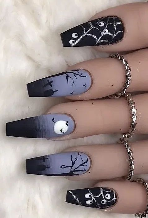 170 striking & spooky halloween nail art ideas -page 9 – homeinspins.com