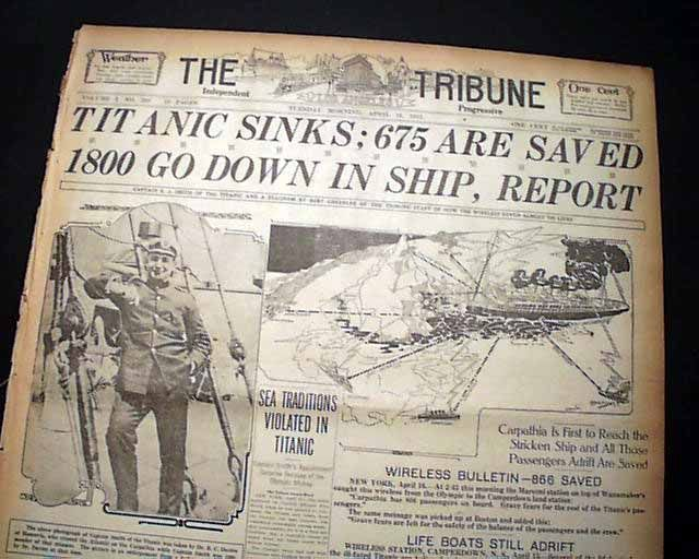 """Historic Newspaper - THE TRIBUNE, Los Angeles, April 16, 1912  """"TITANIC SINKS; 675 ARE SAVED"""" & """"1800 GO DOWN IN SHIP, REPORT"""""""