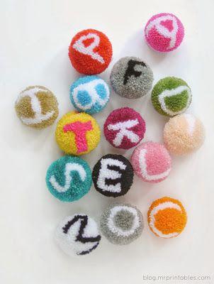 Alphabet Pom Poms - tangled happy