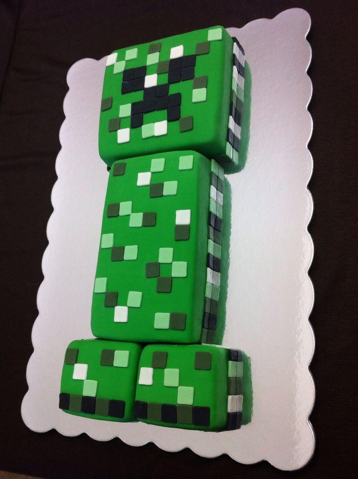 Minecraft Creeper Cake is bright green on the inside -Jenny Crocker Cakery