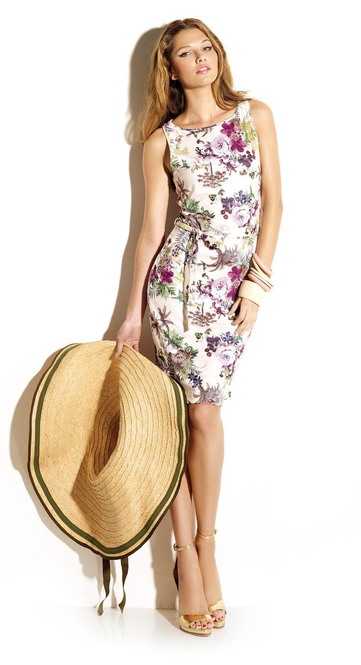 Vestido estampado flores estilo tropical años 50. Tejido de punto de tacto suave, corte entallado cómodo y elegante.