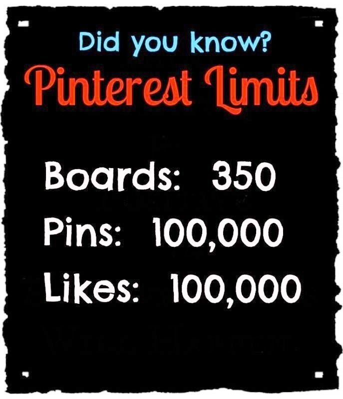 Did you know? Pinterest limits. Boards - 350. Pins - 100,000. Likes - 100,000.