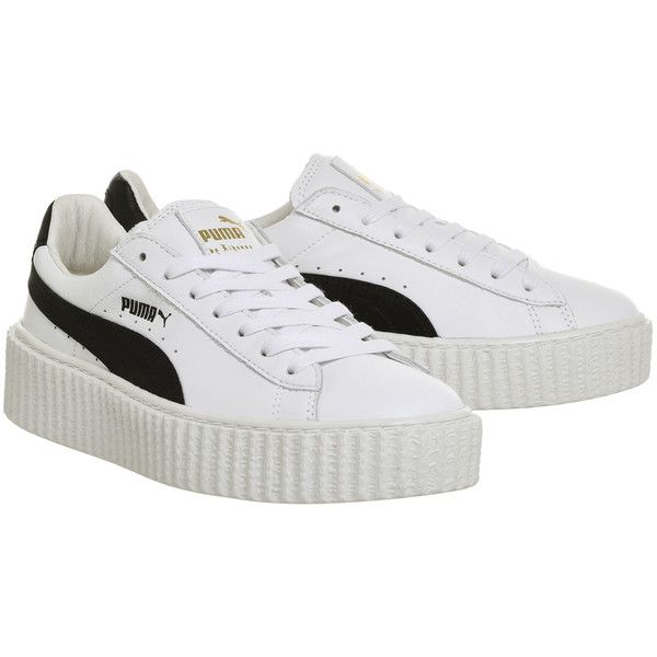 Puma Basket Creepers White Black Leather Fenty ($140) ❤ liked on Polyvore featuring shoes, puma creeper, creeper shoes, white and black shoes, puma footwear and leather shoes