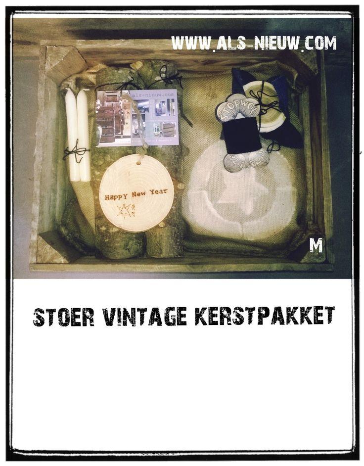 kerstpakket M # van dit kerst cadeau wordt je helemaal blij! Handmade # kist # poef # stoer # robuust # ingepakt # www.als-nieuw.com