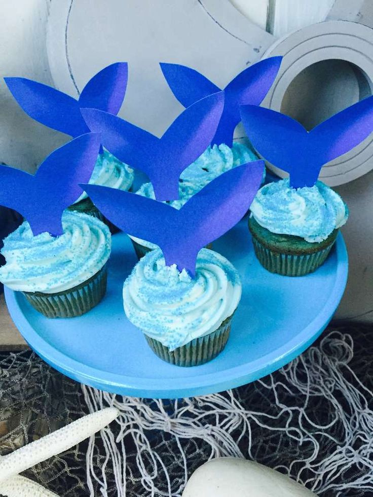 Cupcakes at a whale birthday party! See more party ideas at CatchMyParty.com!