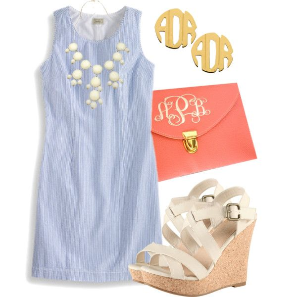 """""""Southern Sweetie"""" by qtpiekelso on Polyvore this outfit is so perfect. love the shoes and the monogrammed clutch"""
