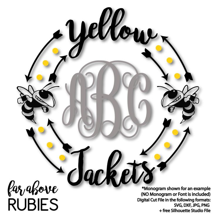 Yellow Jackets Monogram Wreath Frame (monogram NOT included) SVG, DXF, png, jpg digital cut file for Silhouette or Cricut by faraboverubies on Etsy https://www.etsy.com/listing/489858943/yellow-jackets-monogram-wreath-frame