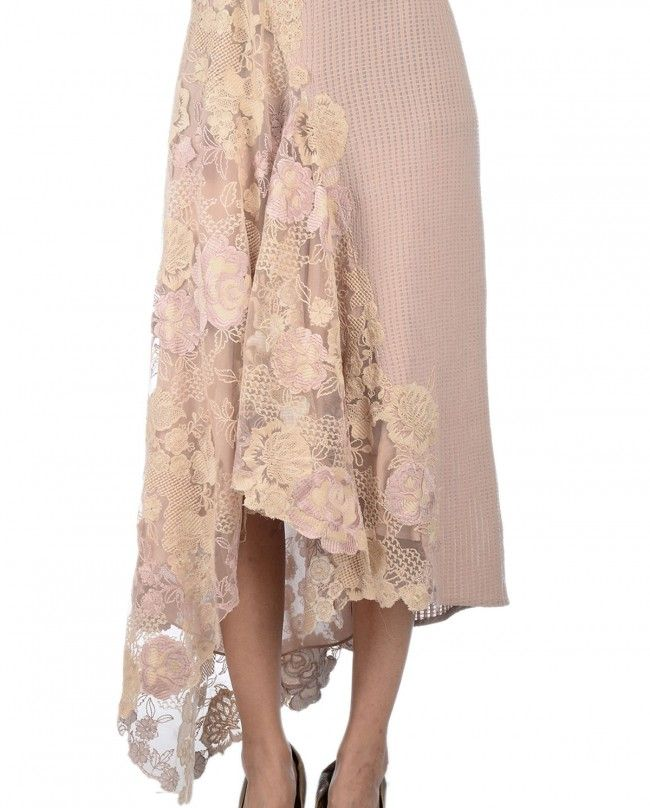 Blush Dress with Floral Applique