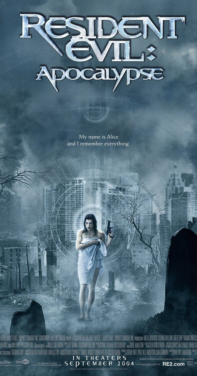Directed by Alexander Witt.  With Milla Jovovich, Sienna Guillory, Eric Mabius, Oded Fehr. Alice awakes in Raccoon City, only to find it has become infested with zombies and monsters. With the help of Jill Valentine and Carlos Olivera, Alice must find a way out of the city before it is destroyed by a nuclear missile.